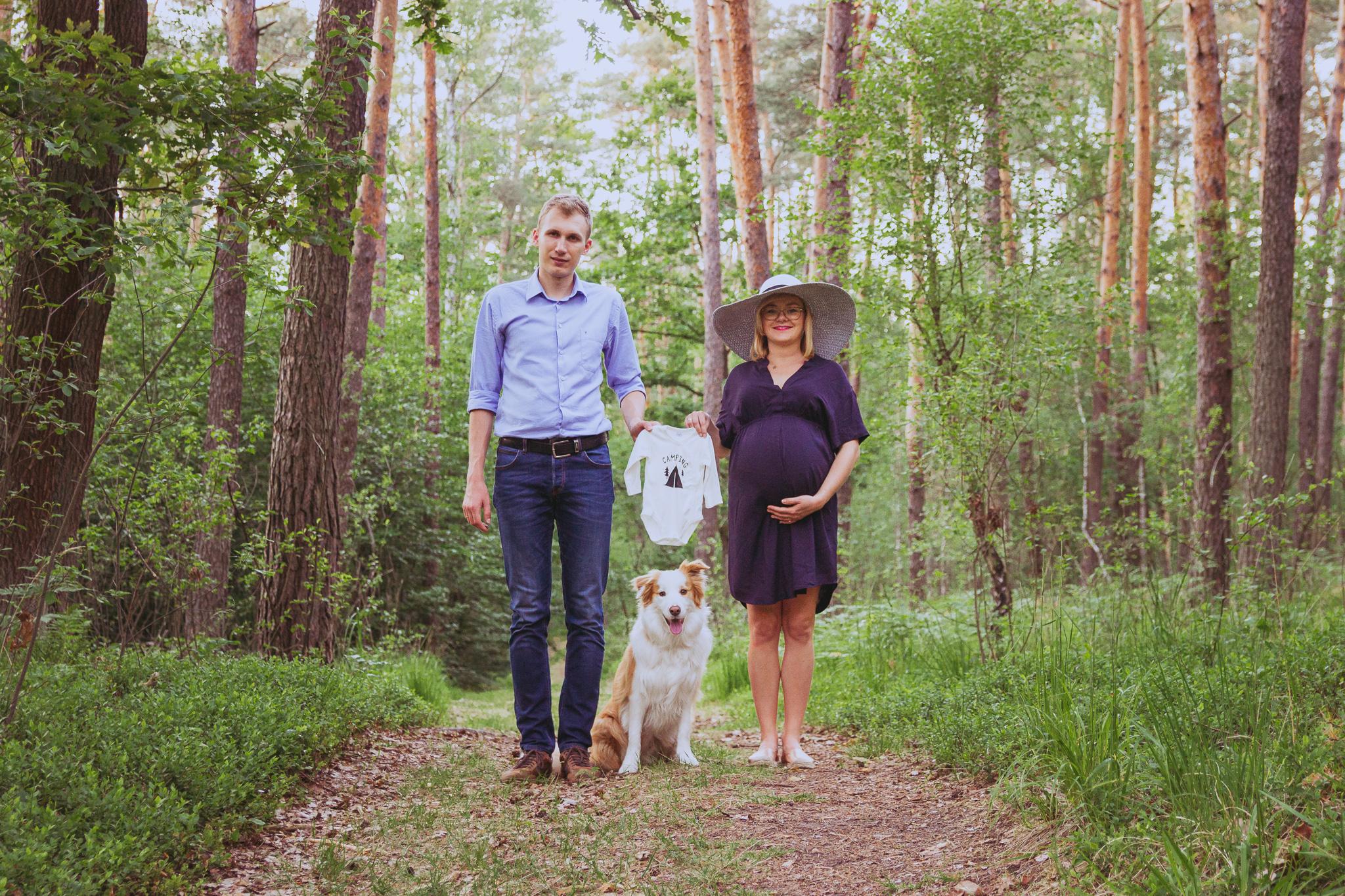 sesja ciążowa Kraków, sesja ciążowa Niepołomice, sesja ciążowa z psem